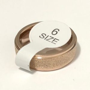 Rose Gold Tone Frosted Ring, Size 6
